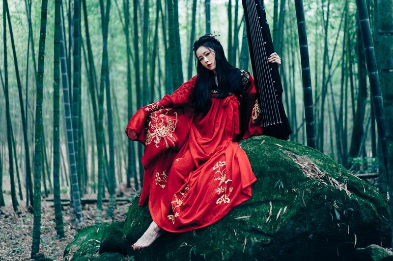 chinese traditional dress002 竹林漢服古裝莊子鈴