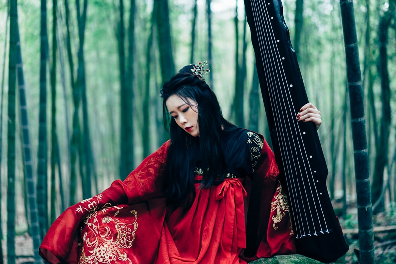 chinese traditional dress003 竹林漢服古裝莊子鈴