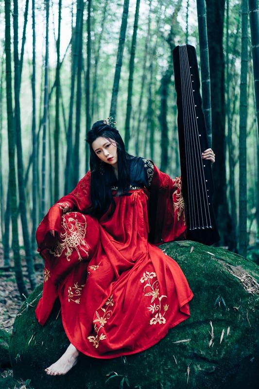 chinese traditional dress004 竹林漢服古裝莊子鈴