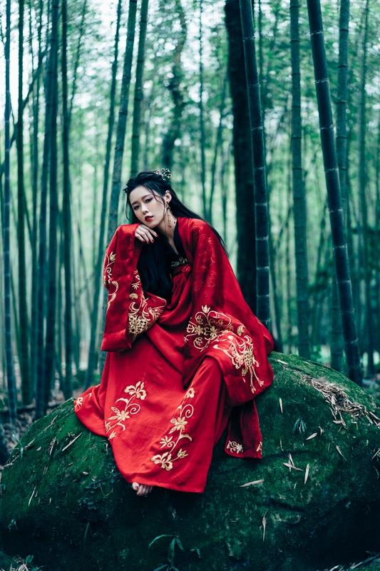chinese traditional dress005 竹林漢服古裝莊子鈴
