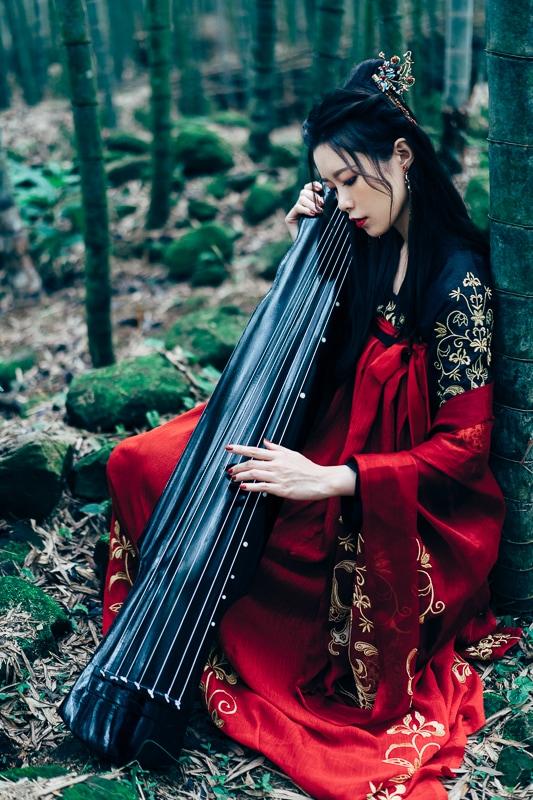 chinese traditional dress006 竹林漢服古裝莊子鈴