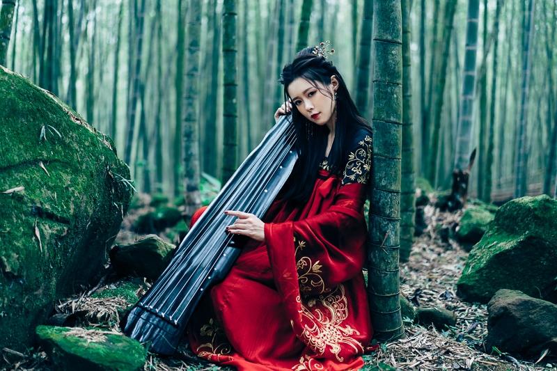 chinese traditional dress007 竹林漢服古裝莊子鈴