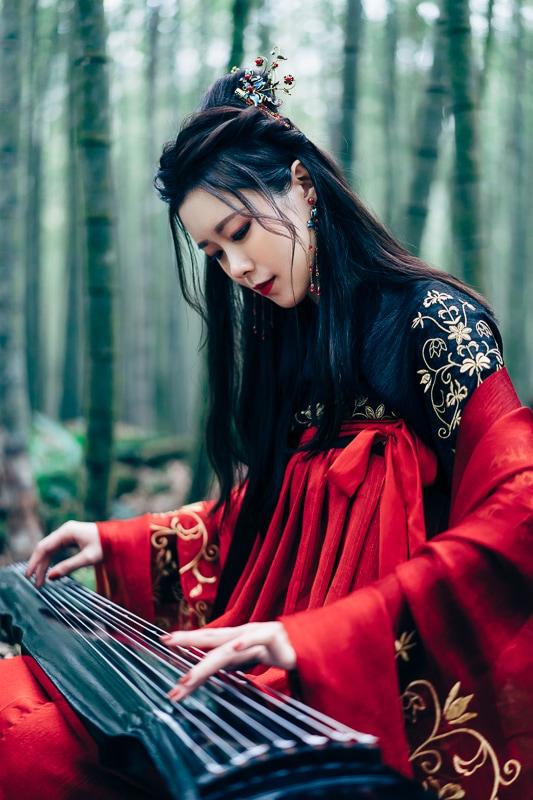 chinese traditional dress011 竹林漢服古裝莊子鈴