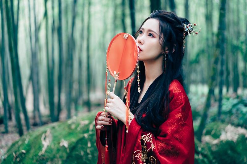 chinese traditional dress019 竹林漢服古裝莊子鈴