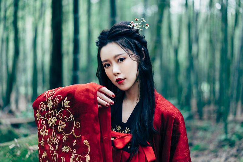 chinese traditional dress024 竹林漢服古裝莊子鈴