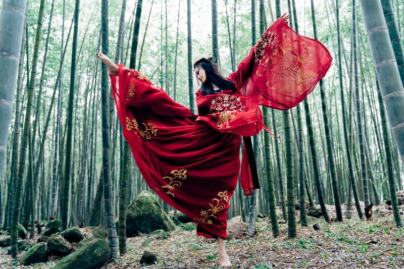 chinese traditional dress025 竹林漢服古裝莊子鈴