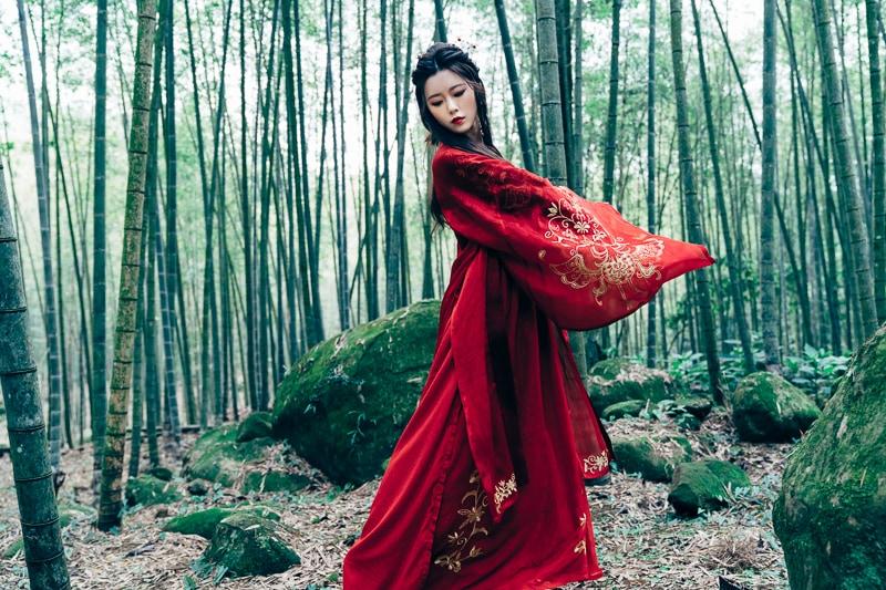 chinese traditional dress026 竹林漢服古裝莊子鈴