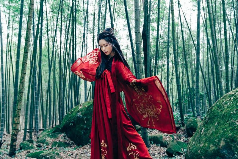 chinese traditional dress028 竹林漢服古裝莊子鈴
