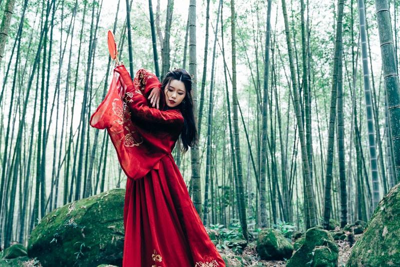 chinese traditional dress029 竹林漢服古裝莊子鈴