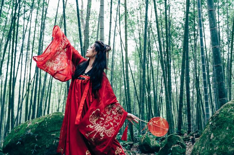 chinese traditional dress030 竹林漢服古裝莊子鈴