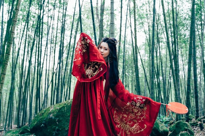 chinese traditional dress031 竹林漢服古裝莊子鈴