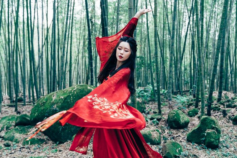 chinese traditional dress032 竹林漢服古裝莊子鈴