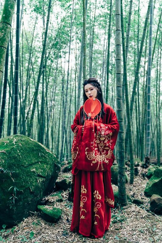 chinese traditional dress034 竹林漢服古裝莊子鈴